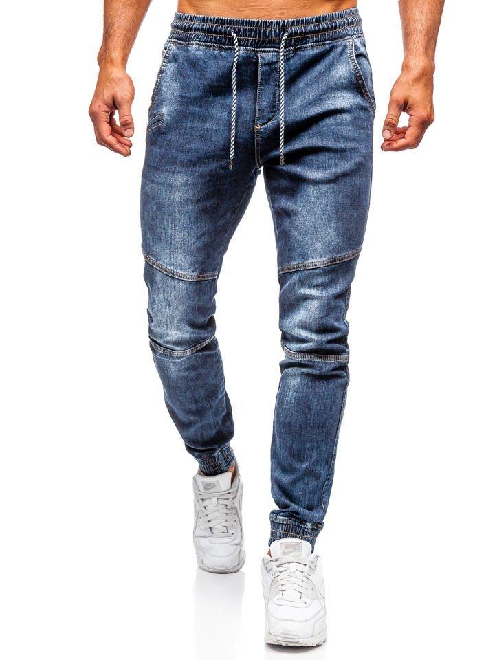Pantalón jogger vaquero para hombre azul oscuro Bolf KA673