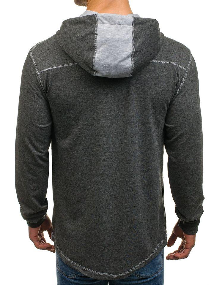 7d6cf2922c44 Sudadera abierta con capucha para hombre gris grafito Bolf 0363 GRIS ...