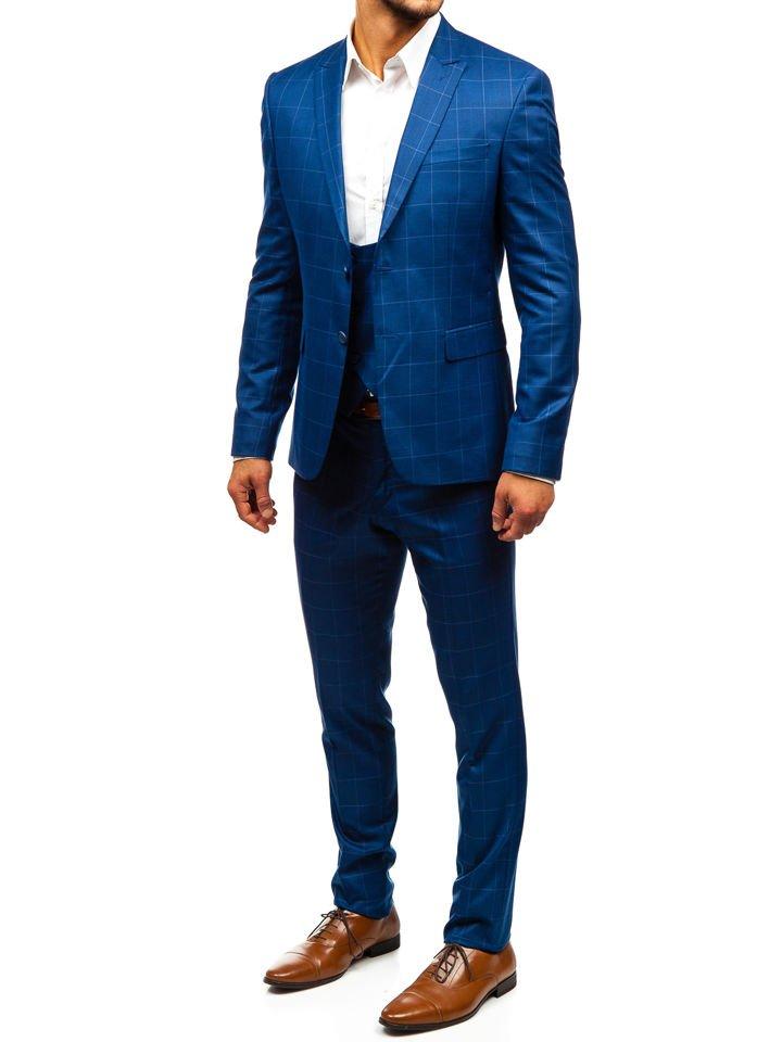 48075f4e1 Traje a cuadros con chaleco para hombre azul Bolf 18200