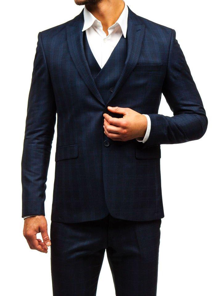 a10e79062d71d Traje A Cuadros Con Chaleco Para Hombre Azul Oscuro Bolf 17100