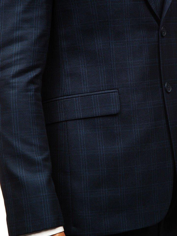 Traje a cuadros con chaleco para hombre azul oscuro Bolf 17100 2b35bf0036a
