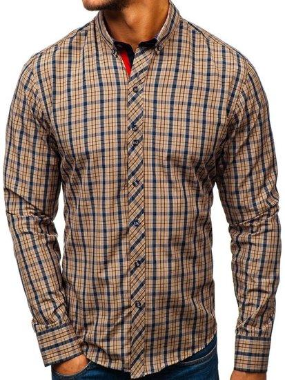 8cf119d87f Camisa a cuadros de manga larga para hombre marrón Bolf 8835 MARRÓN