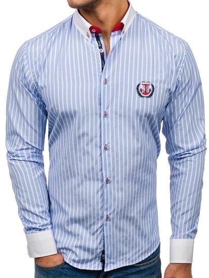 a3868b34aa7d6 Camisa de rayas de manga larga para hombre azul claro Bolf 1771 AZUL ...