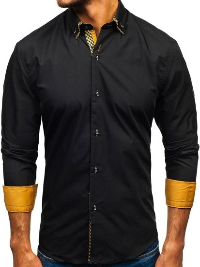 41c8b04eb3 Camisa elegante de manga larga para hombre negra y marrón Bolf 4708 ...