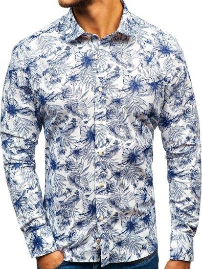 dadbfb7c9a Camisa estampada de manga larga para hombre blanca y azul oscuro 301G66