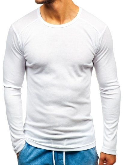 84e2c5777 Camiseta de manga larga lisa para hombre blanca Bolf C10038