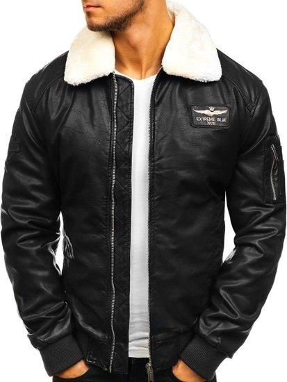 59e2e7fd62b Chaqueta de cuero aviador para hombre negra Bolf EX837